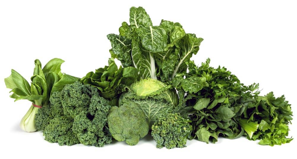 Different kinds of dark leafy greens