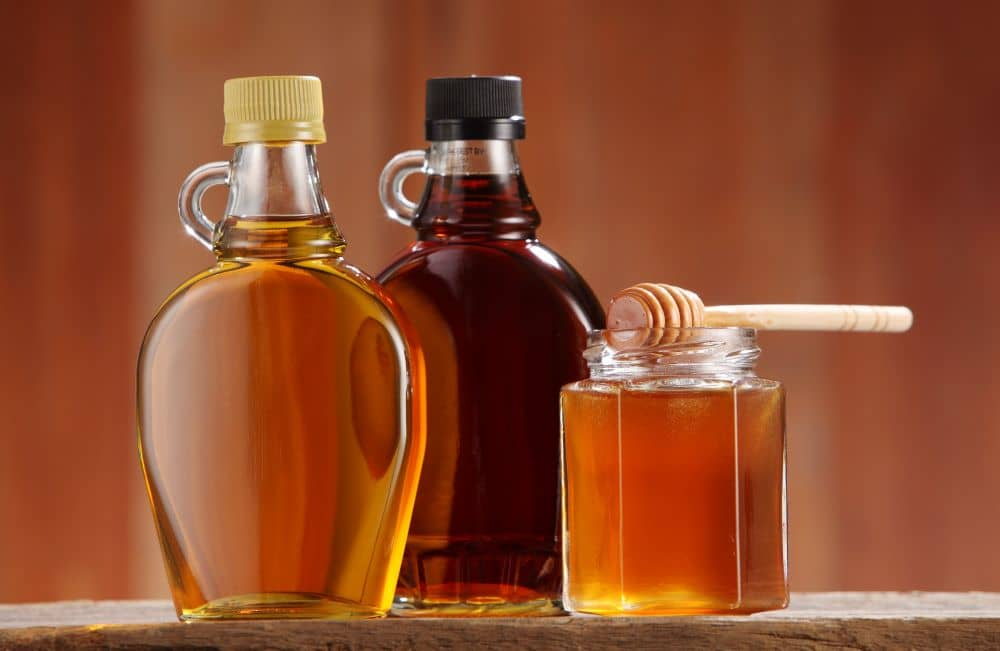 Honey and maple syrup are healthy options as sweeteners.