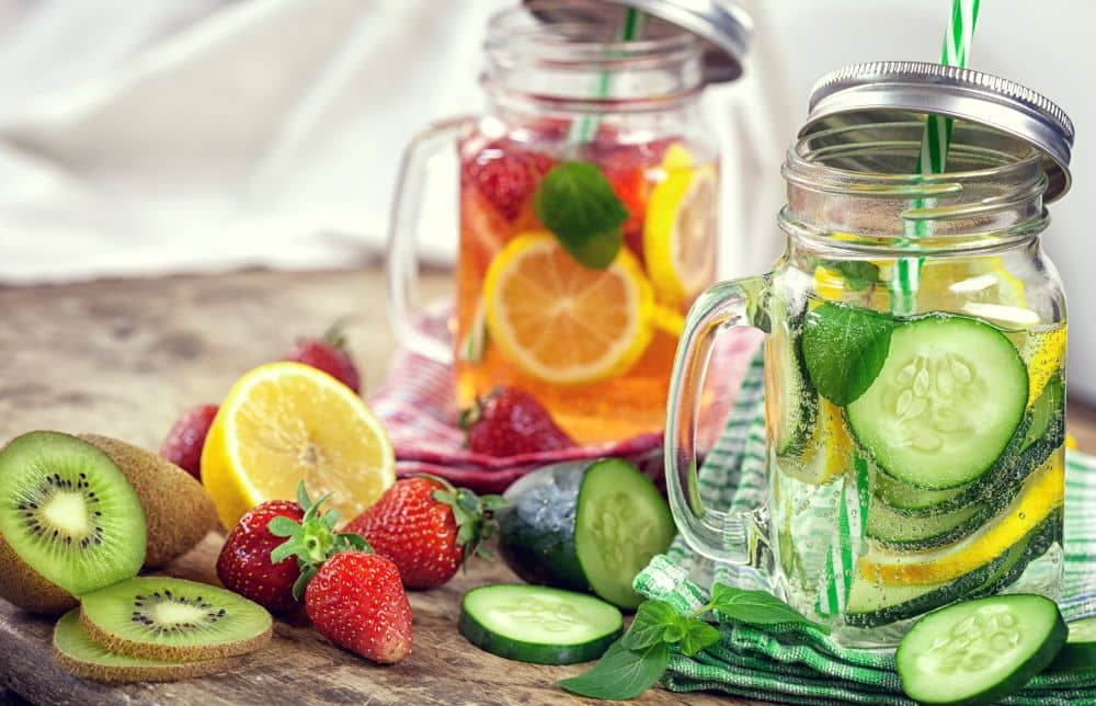 Drinking infused water will fill your stomach, so there's less room for snacking and/or overeating.
