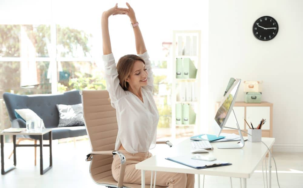 Stretching in the office.